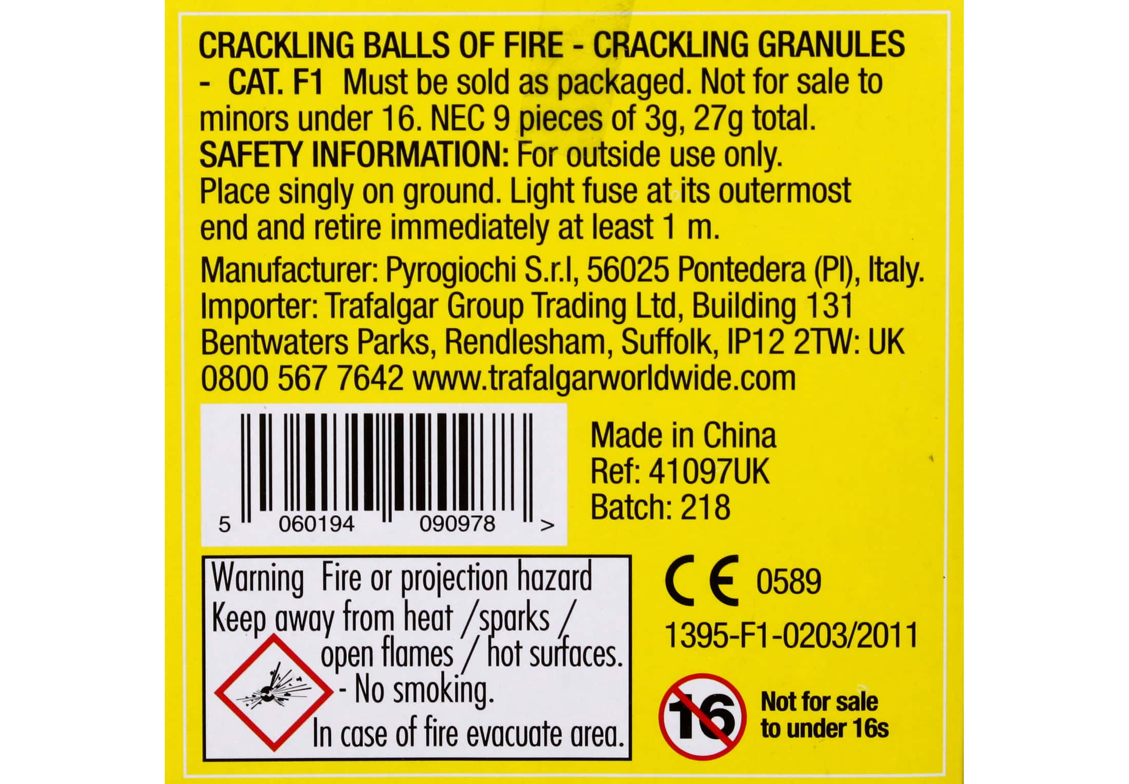 Category F1 fireworks label