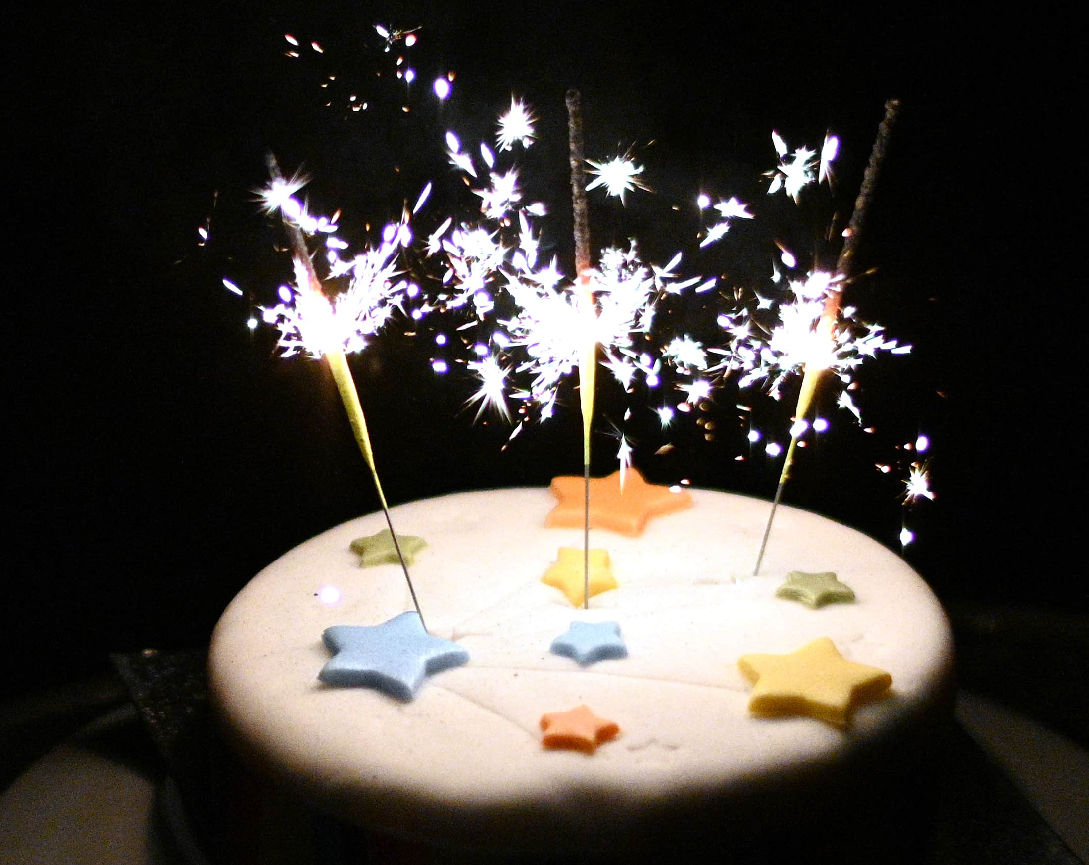 Sparklers on a cake