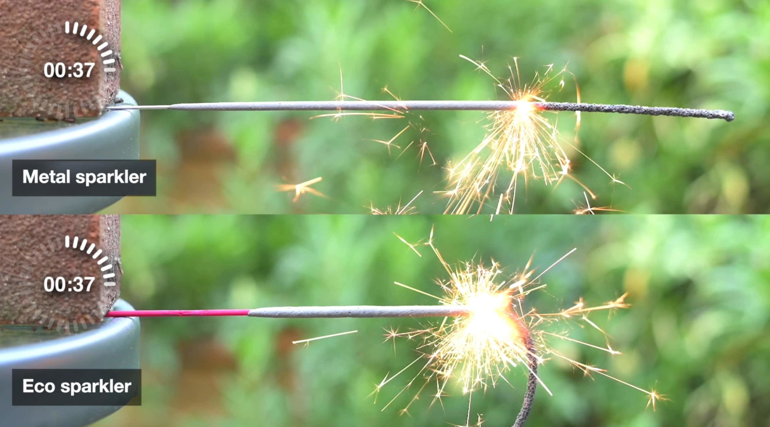 ECO wooden sparkler vs. metal sparkler